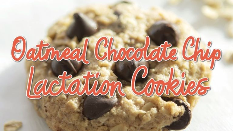 "Oatmeal chocolate chip cookie with words ""Oatmeal Chocolate Chip Lactation Cookies"" overlaid on the image"