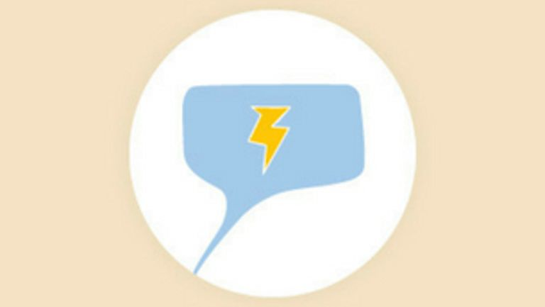 Blue chat icon with yellow lightning symbol inside