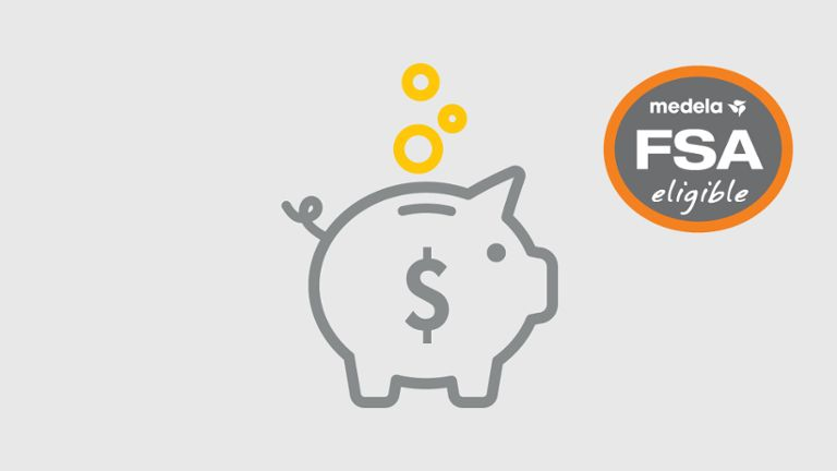 fsa piggy bank graphic illustration with gray background