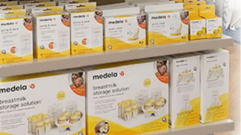 Variety of Medela products on shelves
