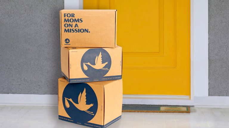 milkstork cardboard boxes with shipped frozen breast milk stacked outside yellow door with white trim and gray walls