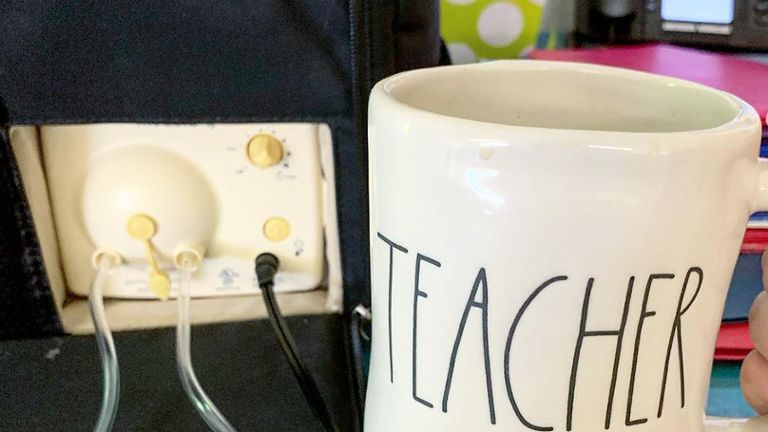 teacher mug next to pump in style breast pump