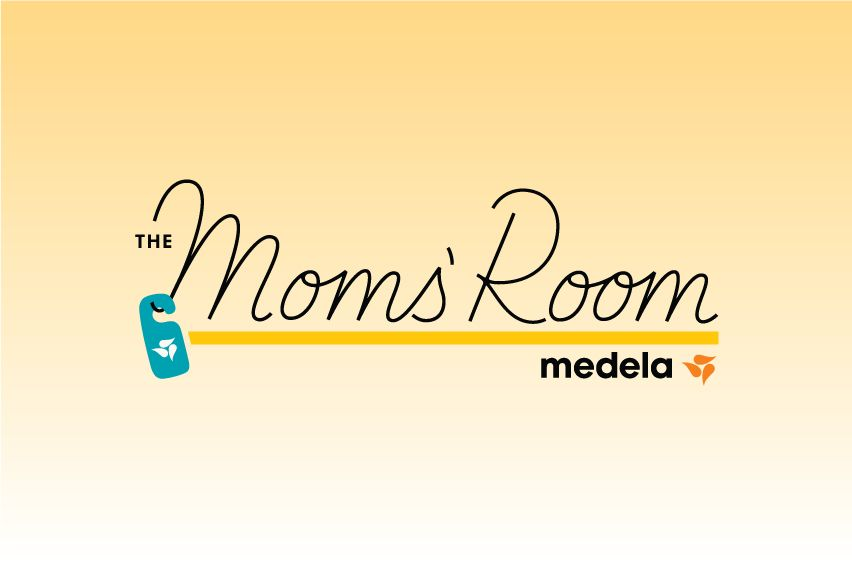the moms' room logo on yellow background